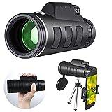 Telescopio Monocular,Portátil Telescopio Zoom,Lente Impermeable BAK4, Smartphone y Trípode, Telescopio Terrestre Para Observación de Aves, Camping, Conciertos, Senderismo