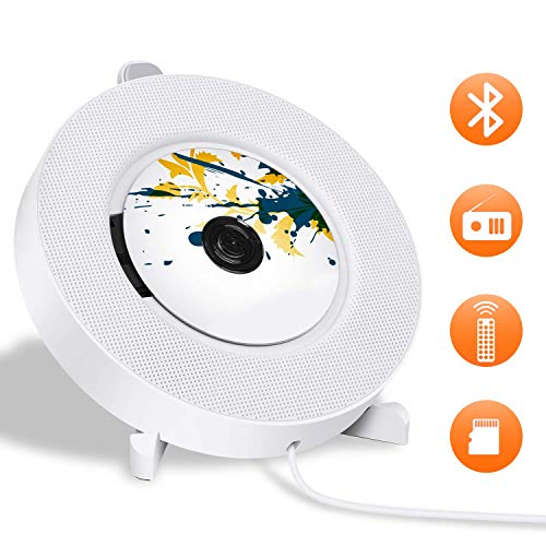 Rabusion Electronics For Portable CD Player with Bluetooth, LUCKYDIY Wall Mountable CD Player,Home Audio Boombox with Remote Control FM Radio, Built-in HiFi Speakers with MP3 Headphone 3.5 mm Jack/AUX Input Output, White EU Plug