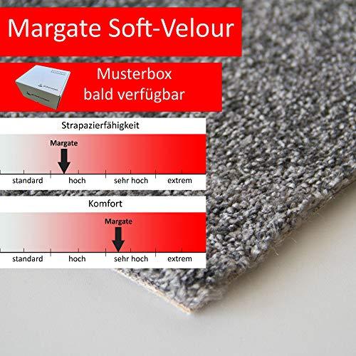 Steffensmeier Teppichboden Margate Meterware | Auslegware für Kinderzimmer Wohnzimmer Schlafzimmer | Anthrazit, Größe: 400x100 cm