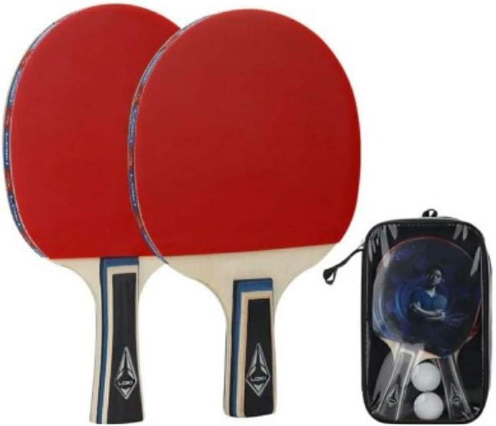 Lerten Juego de Tenis de Mesa Raqueta Profesional de Ping Pong con 2 Palos de Ping Pong Y 1 Bolsa PortáTil para la Escuela Inicio Club Deportivo Oficina Oficina en Cualquier Lugar Conjunto Mi
