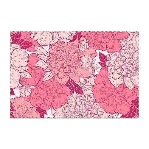 Yyoungsell - Manteles individuales lavables y fáciles de limpiar, diseño floral, para mesa de cocina, resistentes al calor, alfombrillas duras de mesa de 30,5 x 45,7 cm, juego de 6