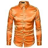 ZSBAYU Men's Shiny Design Long Sleeve Dress Shirts Slim Fit Business Button Down Shirts Fashion Luxury Party Dress Shirt (Orange,Small)