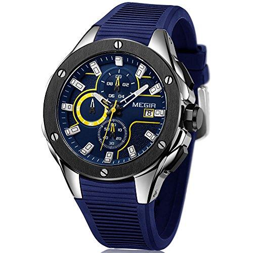 MEGIR Military Sports Watches Men Fashion Silicone Strap Chronograph Quartz Wristwatch Luxury Waterproof Luminous Watch Man Blue