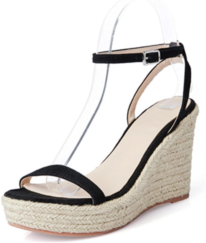 Bao Xing Bei Firm Sommer Damen Sandalen Sandalen Sandalen Super Heels offene Schuhe Stroh Keil Sandalen (Größe   34) 813
