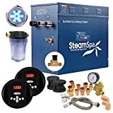 SteamSpa Executive 10.5 KW QuickStart Acu-Steam Bath Generator Package with Built-in Auto Drain in Matte Black | Steam Generator Kit with Dual Control Panel Steamheads 240V | EXR1050BK-A