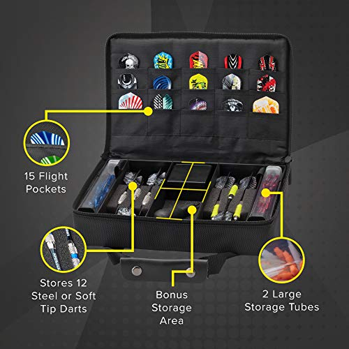 Casemaster by GLD Products Classic Nylon Dart Carrying Case for Steel and Soft Tip Darts, Holds 12 Darts Numerous Other Accessories via Generous Storage Pockets, Tubes and Boxes, Black