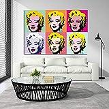 CAPTIVATE HEART Lienzos de Fotos 40x60cm sin Marco Cuadros de Pared Famosos de Marilyn Monroe Andy Warhol para Sala de Estar Pinturas Decorativas Modernas de Arte Pop para el hogar