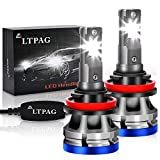 H11/H8/H9 LED Headlight Bulbs, 60W 6500K Ultra-thin Design Headlight Conversion Kit 300% Brighter White 2 Pcs