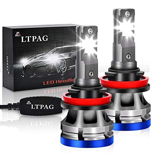 H11 LED, LTPAG Lampadine H8 H9 H11 LED 72W 12000LM Fari Abbaglianti o Anabbaglianti per Auto, 12V-24V Nessuna Polarità Kit Lampada Sostituzione per Alogena Lampade e Xenon Luci -2 Anni Di 6000K Bianco