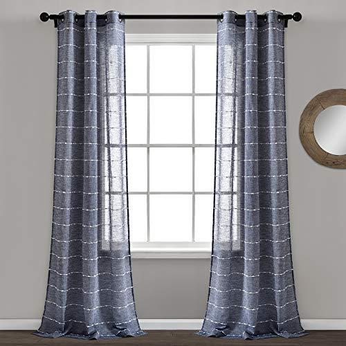 "Lush Decor Navy Farmhouse Textured Grommet Sheer Window Curtain Set (84"" x 38"")"