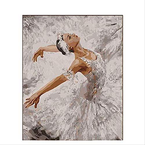 LGCCC DIY Vorgedruckt Leinwand-Ölgemälde Geschenk für Erwachsene Kinder Malen Nach Zahlen Kits Home Haus DekorSchöne Ballerina 40×50cm (Ohne Rahmen)