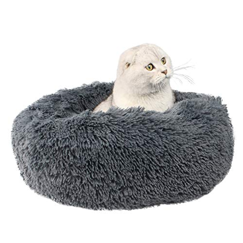 ITODA Soft Pet Bed for Cats and Small Medium Dogs Portable Cat Dog Puppy Bed Sofa Cuddler Round Cushion Nest Bed Doughnut Sleeping Bed Calming Bed Warm Plush Pad Mat Cozy Bed Hut with Anti Slip Base
