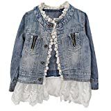 Girls Denim Jacket Chirld Toddler Jean Jacket Lace Outwear Cowboy Baby Spring Autumn Gift Overcoat(3-4Y)