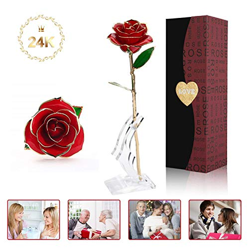💓【24K Flower Theme】 Never Fade Would Deliver Your Everlasting Love To Her! Rose represent love, and 24k gold rose with stand for forever love. 💓【Handmade】24k gold rose take over 4 days handwork and 65 steps to make one piece 💓【 Unique Shape】Each Gold...