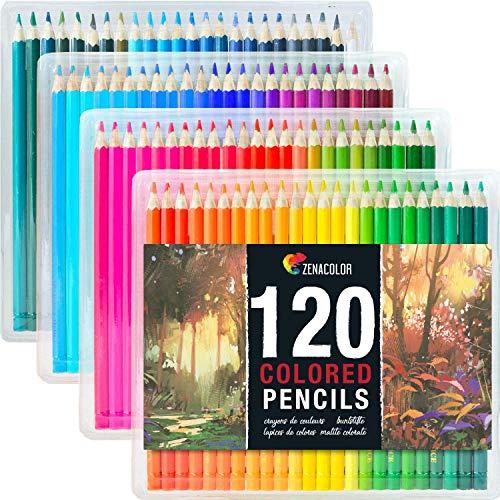 Buntstifte Set (120er Pack) von Zenacolor - Hochwertige Kunst-Buntstifte für Erwachsene, Künstler & Skizzenzeichner - Perfekt für das Buntmalen der Erwachsenen, Schulprojekte, Zeichnen & mehr