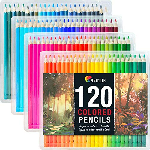 120 Lápices de Colores (Numerado) de Zenacolor - 120 Colores Únicos para Libro de Colorear para Adultos - Fácil Acceso con 4 Bandejas - Regalo Ideal para Artistas, Adultos