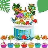 iZoeL 73 piezas de decoración de tartas, dinosaurios para decoración de tartas de safari jurásico, fiesta de cumpleaños con temática de animales salvajes, para niño y niña