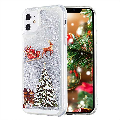 Christmas Case for iPhone 11, TIPFLY, Liquid Luxury Fashion Flowing Floating Shining Quicksand Soft Clear Bumper Shockproof Bling Sparkle Women Girl Case for iPhone 11 6.1 inches(Christmas Eve-Silver)