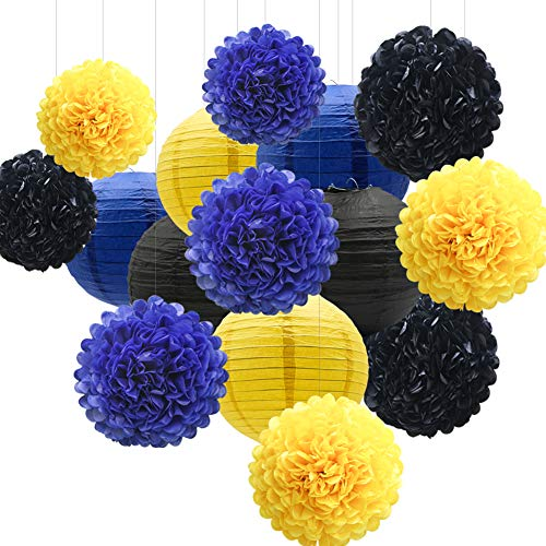 15pcs Hanging Party Decorations Set, Navy Blue Yellow Black Paper Flowers Pom Poms Balls and Paper Lanterns for Batman Birthday Baby Shower Reveal Party Graduation