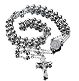30' Stainless Steel Rosary Beads Necklace 6mm Silver Color with Jesus Christ Crucifix Cross