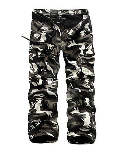 GUOCU Hombre Invierno Cargo Camo Pantalones Además De Terciopelo Mantener Caliente Multi-Bolsillo Ocio Combate Suelto Trabajo Desgaste Pantalones