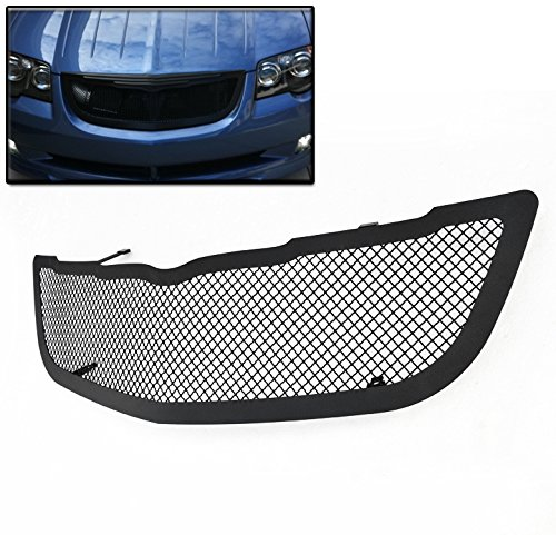 ZMAUTOPARTS For Chrysler Crossfire Front Upper Stainless Steel Mesh Grille Grill Black 1Pc
