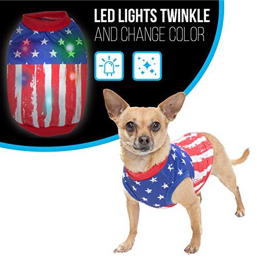 K9 Casuals American Flag Hunde-Pullover mit blinkenden Lichtern | USA Flagge Hunde-Shirt für 4. Juli | Patriotisches Hundekostüm mit blinkenden LED-Lichtern, Teacup