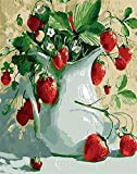 ZXlDXF Adults Children Beginners use Paint by Numbers Kits to DIY Digital Oil Paintings Including Brushes and Paints 4050 inches Home Wall Decoration Crafts Strawberry vase