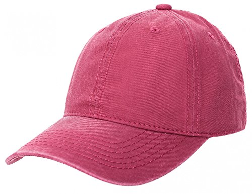 Kappe Basecap für Herren und Damen Baseballkappe Baseball Cap Mütze aus Washed Canvas Baumwolle in Rot Rosa Senf Khaki Grau Braun Blau von ESTABLISHED SEVENTY9, Farbe:Pink