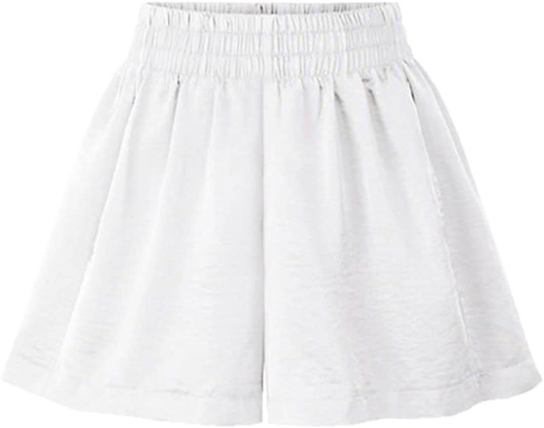 Vcansion Summer Elastic Waist Wide Leg Culottes Shorts for Women