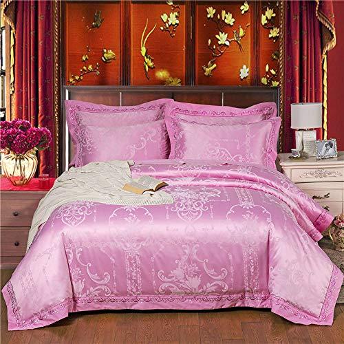 YIEBAI Silk Cotton Bedlinen Bedding Sets Jacquard duvet cover flat sheet pillowcases 4/6pcs,3,King Size 6pcs