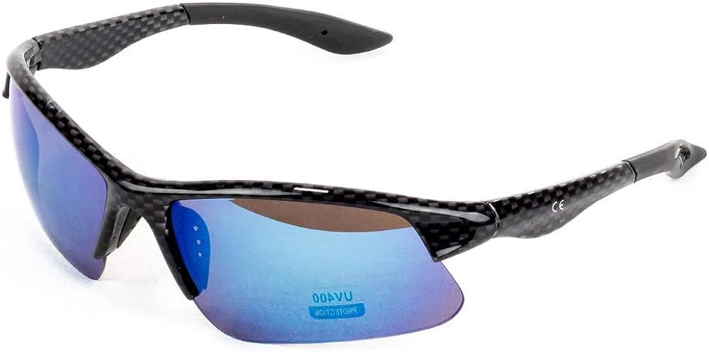 ULTRANNER - ZEBRÚ   Gafas de Sol Deporte Polarizadas con Protección UV - Gafas Trail Running Antideslizantes de Policarbonato -Gafas de Sol Resistentes al Sudor - Color Lentes Azul