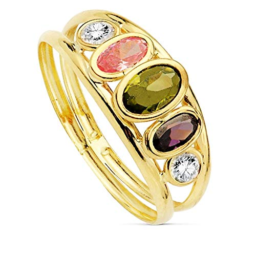 Sortija oro 9k mujer centro piedras colores circonitas blancas dos bandas
