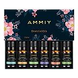 ammiy oli essenziali, oli essenziali per diffusori, set regalo di oli essenzali per diffusore, massaggi, umidificatore, aromaterapia, cura dei capelli, bagno profumato 6 * 10ml