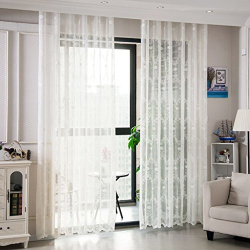 Met Love Jian Ou Jacquard Shalian Salon Blanc Fils Chambre Haut de gamme Étage Sable Rideau Balcon Bay Fenêtre 2 Panneaux (taille : L:2.0*H:2.7m)