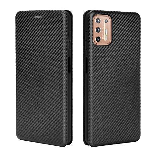 TOPOFU Leder Folio Hülle für Motorola Moto G9 Plus, Premium Kohlefaser Flip Wallet Tasche mit Kartenfächern, Magnetic, Standfunktion, Lederhülle Handyhülle Schutzhülle (Schwarz)