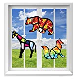 VHALE Suncatcher Kit for Kids, 3 Sets of Stained Glass Effect Paper Suncatchers (9 Cutouts, 27 Tissue Papers), Window Art, Classroom Arts and Crafts, Great Travel Toys, Party Favors (Animal)