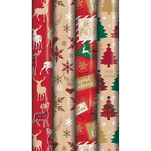 4 x 8M Rolls of Christmas Gift Wrap Wrapping Paper Traditional Tartan Reindeer