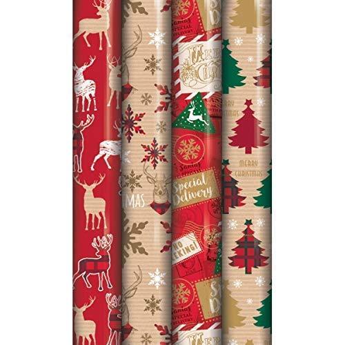4 rollos de papel de regalo de 8 m, diseño de reno de tartán tradicional
