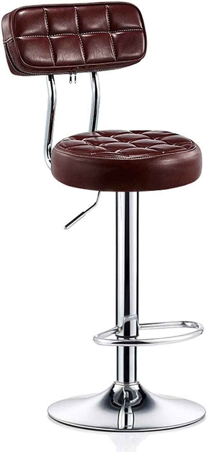 CYLQ redate Bar Stool, Adjustable Lift Bar Chair, High Back Oil Wax Leather Chair Plating Footstool, Home Breakfast Counter Height 5 colors, 60-80cm (color   Brown)