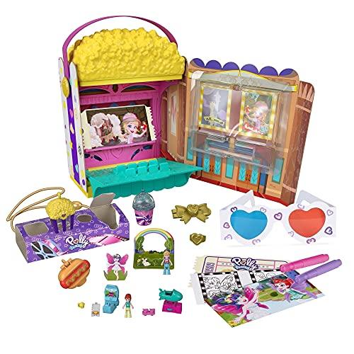 Polly Pocket GVC96, Un-Boxen Speelset Popcorndoos met Bioscoopavontuur, 20 Accessoires Inclusief 2 Micropoppen en 3 Minisnacks, Cadeau voor kinderen vanaf 4 Jaar