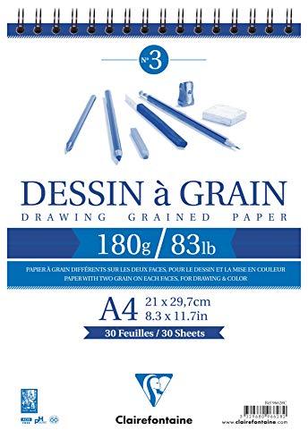 Clairefontaine 96628C - Bloc para dibujo a carboncillo (21 x 29,7 cm, 30 hojas, 180 g), color blanco