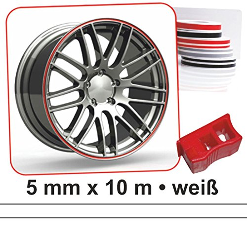carstyling XXL Zierstreifen Wheel-Stripes für Autofelgen weiß 5 mm x 10 m ~ schneller Versand innerhalb 24 Stunden ~