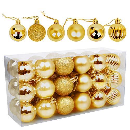 Speyang Palle di Natale 4cm, Palline Dell'Albero di Natale, Addobbi Natalizi Palline per Albero, Set Palla di Natale, Albero di Natale Palla Decorazioni con Albero Natale Scintillante—36 Pezzi (Oro)