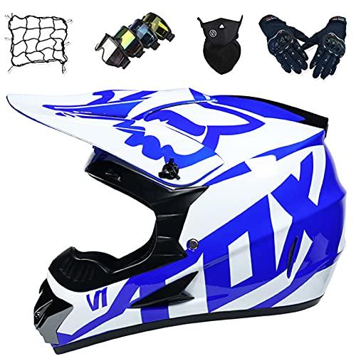 Aidasone Casco Moto Niños Set, Casco Motocross Azul Blanco con Diseño Fox, Casco Integral Unisex para Motocicleta Todo Terreno Descenso Enduro MTB Dirt Bike con Gafas/Guantes/Máscara/Red Bungy,XL