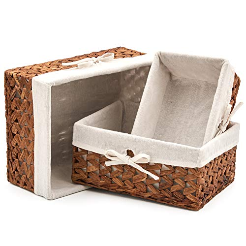 EZOWare Set of 3 Natural Woven Water Hyacinth Nesting Wicker Storage Baskets Organizer Container Bins with Linen Liner - Brown
