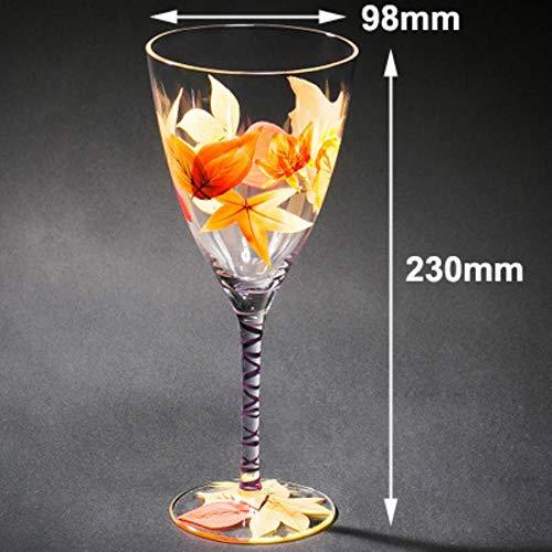 Opak Glasbecher Bleifreies Kristall Cocktailglas Farbige Zeichnung Weinglas Becher Champagnergläser Weinbecher Bar Hotel Party, 1 STK. 300ml