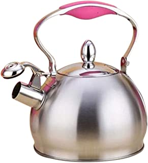 Whistling Tea Kettle Stainless Steel Stovetop Teakettle Sturdy Teapot for Tea Coffee Fast Boiling, Home Kitchen Camping Use - Pink