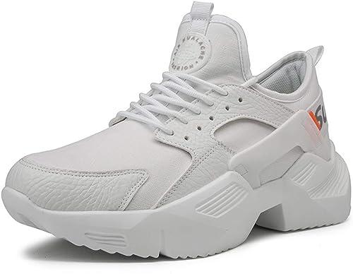 JSYS Baskets pour Hommes avec Chaussures de Course Baskets légères en nid d'abeille avec Technologie Choc pour la Marche, Le Jogging, Le Fitness et Le Sport,blanc-40EU