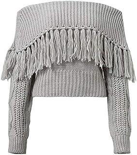 LUZAISHENG Word Shoulder Tassel Sexy Strapless Sweater 2020 Fashion (Color : Grey, Size : XL)